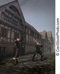 medieval, calle, luchadores
