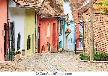 medieval, calle, vista, en, sighisoara, fundado, saxon,...