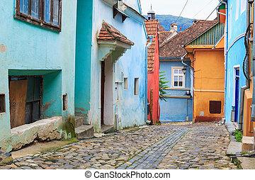 medieval, calle, vista, en, sighisoara, fundado, saxon, colonists, en