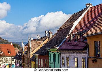 medieval, calle, vista, en, sighisoara, transylvania, fundado, alemán, colonists