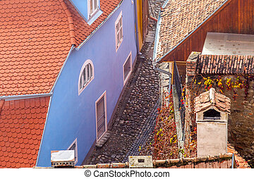 medieval, calle, vista, en, sighisoara, transylvania