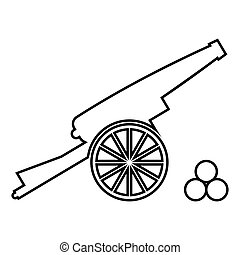 Medieval cannon firing cores icon black color illustration ...