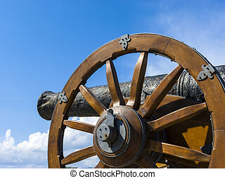 Medieval cannon in the old fortress of Corfu town at Greece
