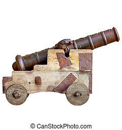 Medieval cannon isolated on white background. Ancient European a