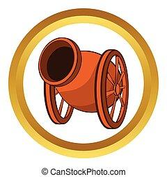 Medieval cannon vector icon, cartoon style