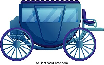 Medieval carriage icon, cartoon style