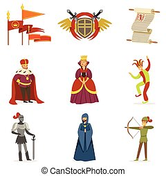 Medieval Cartoon Characters And European Middle Ages Historic Period Attributes Collection Of Icons