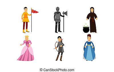 Medieval Cartoon Characters Of A Princess, A Herald, A Knight, A Wizard, An Archer And A Lady In Vector Illustration Set