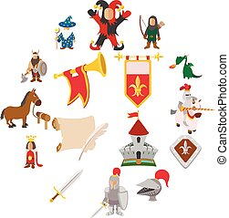 Medieval cartoon icons set