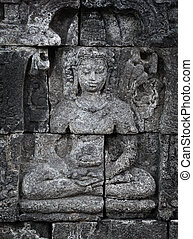 Medieval carving on wall of the Borobudur temple