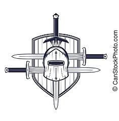 medieval, casco, espadas, protector