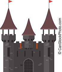 medieval, castelo, com, torres, -, walled, cidade