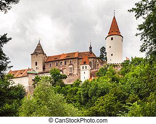 medieval, castillo, de, krivoklat, en, república checa