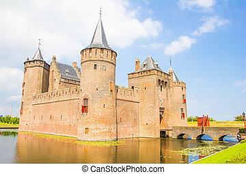 medieval, castillo, muiderslot, muiden, el, países bajos