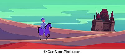 Medieval castle and knight on horse cartoon vector illustration banner. Brave warrior find the way to castle. Help knight to save princess game for kids or book cover.