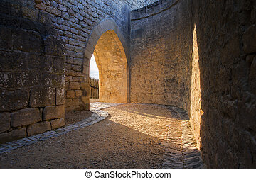 Medieval castle archway located in France