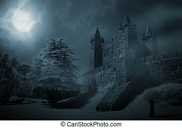Medieval castle at night - Mysterious medieval castle in a...