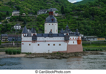 Medieval castle Burg Pfalzgrafenstein at Rhine river valley,...
