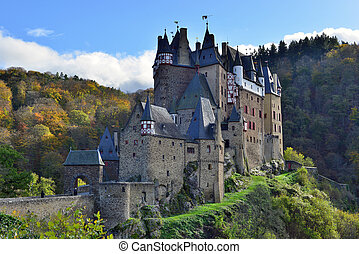 medieval castle Eltz, located on the mountain in Germany - ...