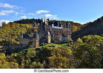 medieval castle Eltz, located on the mountain in Germany -...