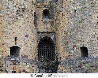 Medieval castle entrance, Angers, France.