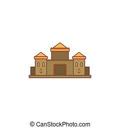 Medieval castle icon, cartoon style