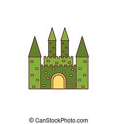 Medieval castle icon, cartoon style