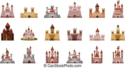 Medieval castle icon set, cartoon style