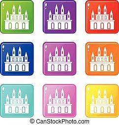 Medieval castle icons 9 set
