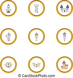 Medieval castle icons set, cartoon style