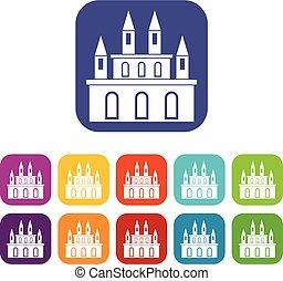 Medieval castle icons set flat