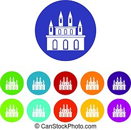Medieval castle icons set flat vector