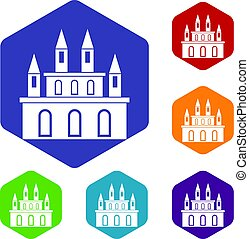 Medieval castle icons set hexagon
