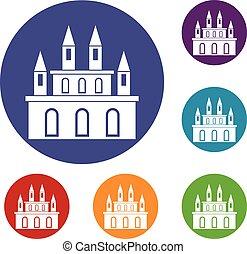 Medieval castle icons set