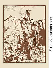 medieval castle in the hill in Tuskany, Italy vintage, engraved hand drawn in sketch or wood cut style, old looking retro roman.