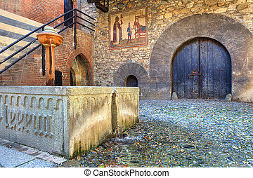 Medieval castle interior view. - Interior court of Valentino...