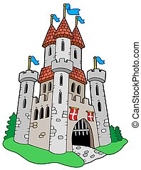 Medieval castle - isolated illustration.