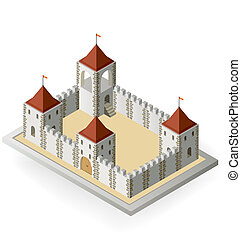Medieval castle - Isometric view of a medieval castle on a...