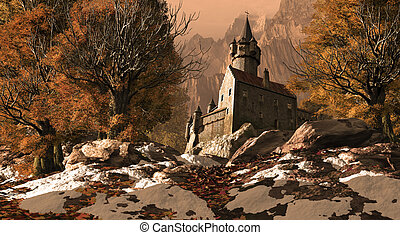 Medieval castle fortress in the mountains with some snow on the ground.