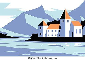 Medieval castle near lake