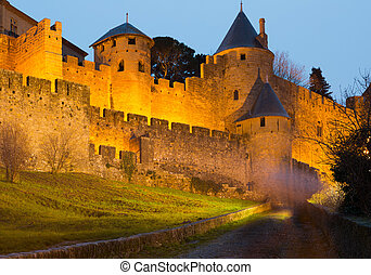Medieval castle of Carcassonne in evening. Languedoc-...