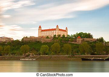 Medieval castle on a hill in Bratislava, Slovakia