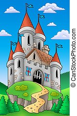 Medieval castle on hill - color illustration.
