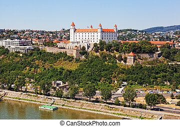 Medieval castle on the hill against the sky, Bratislava,...