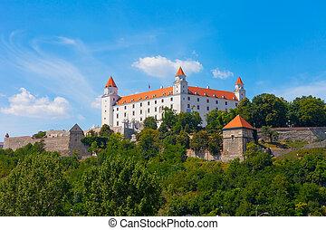 Medieval castle on the hill against the sky, Bratislava, ...