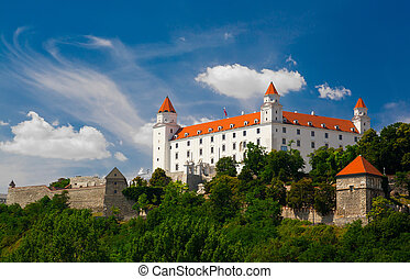 Medieval castle on the hill against the sky, Bratislava, ...