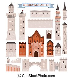Medieval castle parts like gates, walls, towers - Old...