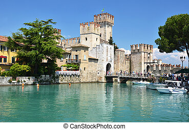 Medieval castle Scaliger in old town Sirmione on lake Lago di Garda