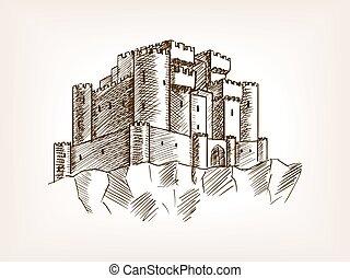 Medieval castle sketch style vector illustration
