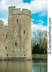 Medieval castle tower with moat